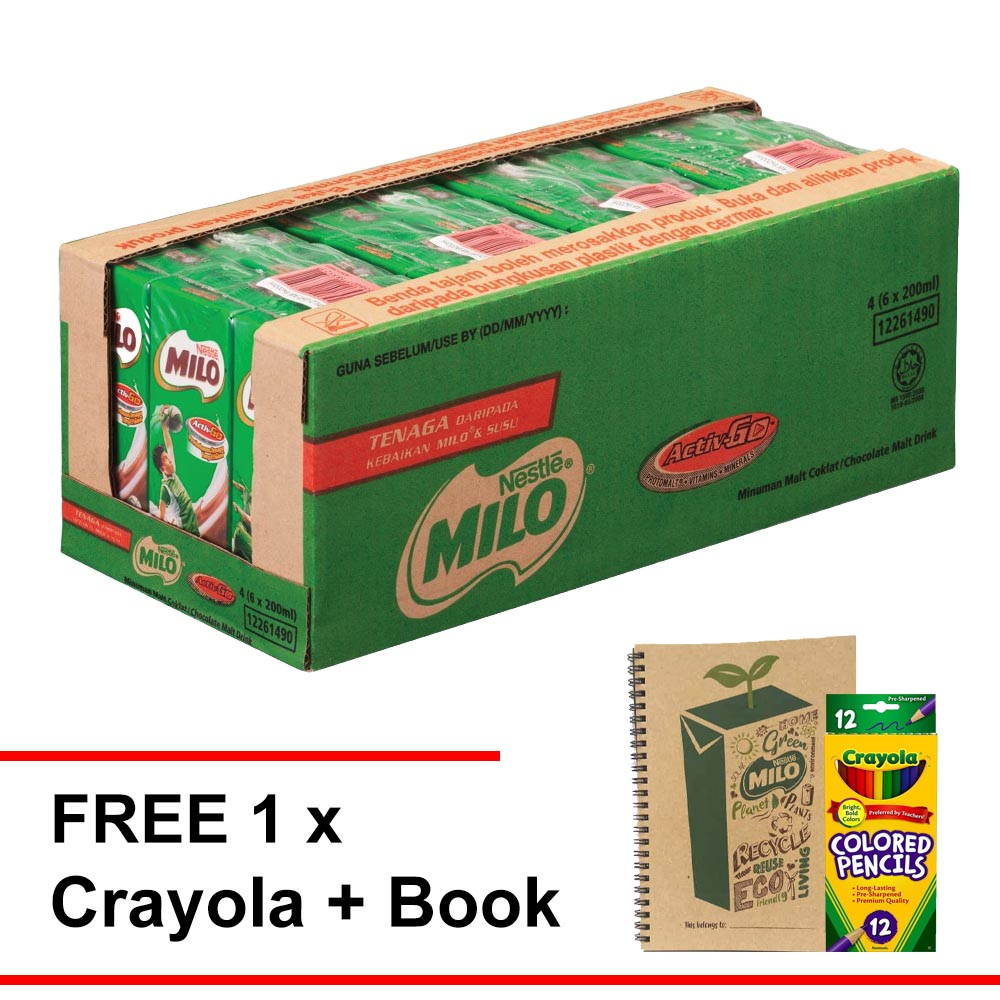 MILO UHT 200ml , Buy 1 carton Free 1 Crayola Colouring set