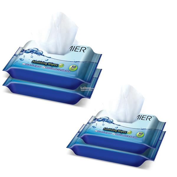 [Monthly Promotion ]PREMIER Sanitizing Wipes 2 x 50s x 2pkt