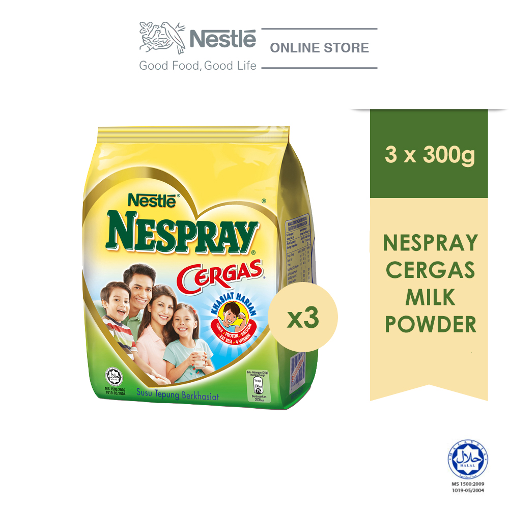 NESPRAY CERGAS Milk Powder Softpack 300g, Bundle of 3