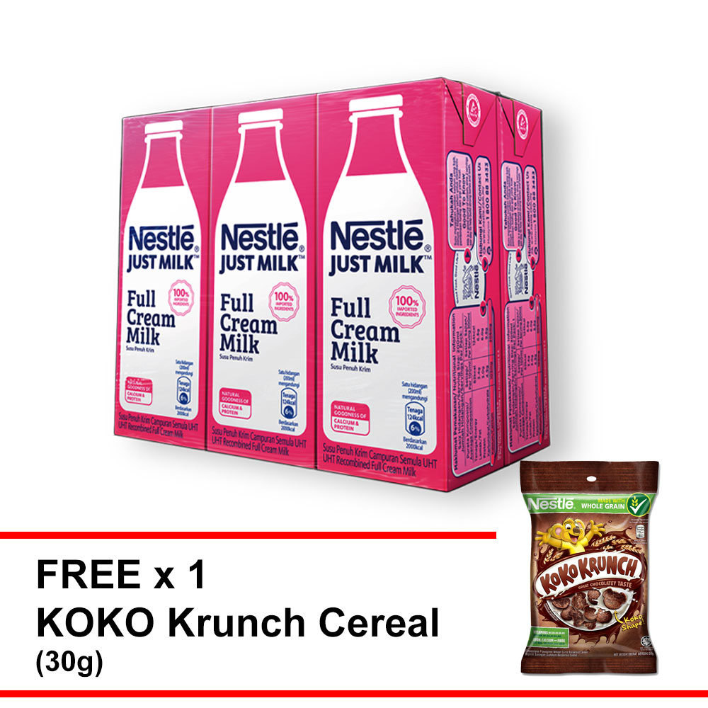 Nestle Just Milk 200mlx6 F.O.C Koko Krunch Budget Pack 30g