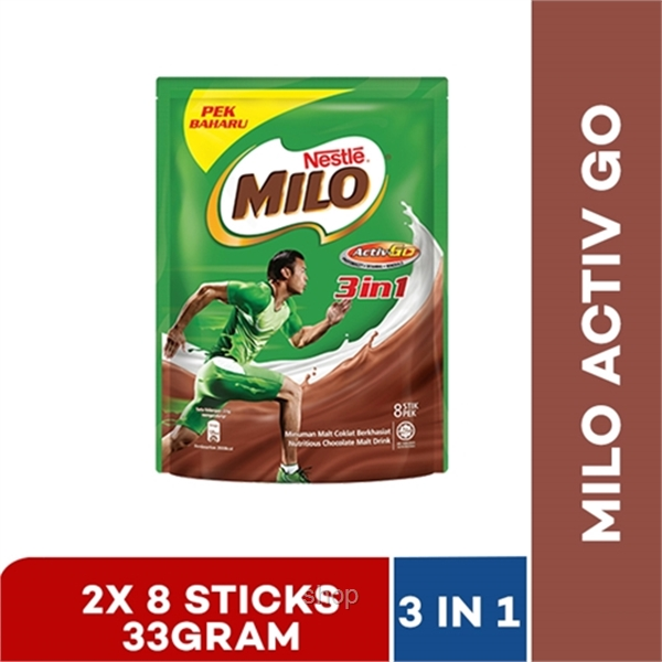 Nestle Milo 3in1 Activ-Go Mixes 33g 8 Sticks (2 packs)
