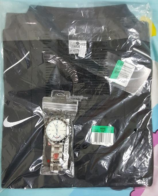 NIKE DRI-FIT COLLAR SHIRT & LONGBO WATCH   FREE DELIVERY