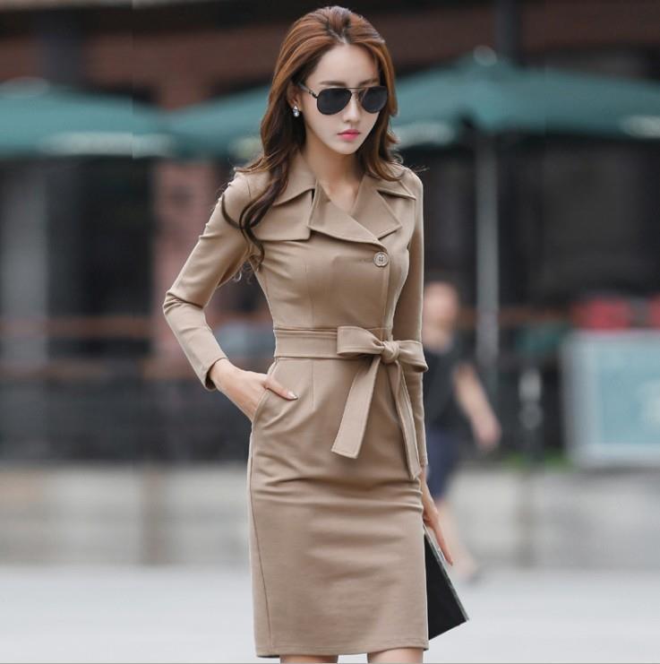 Ol Office Wear Women Lady Clothing Long Sleeve Windbreaker Dresses