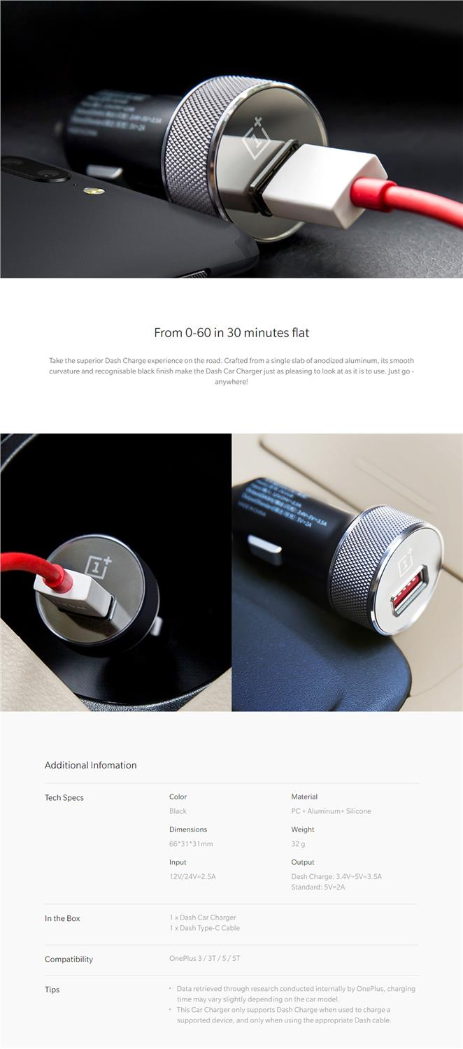 OnePlus Fast Charge Car Charger and Type-C Cabel Combination