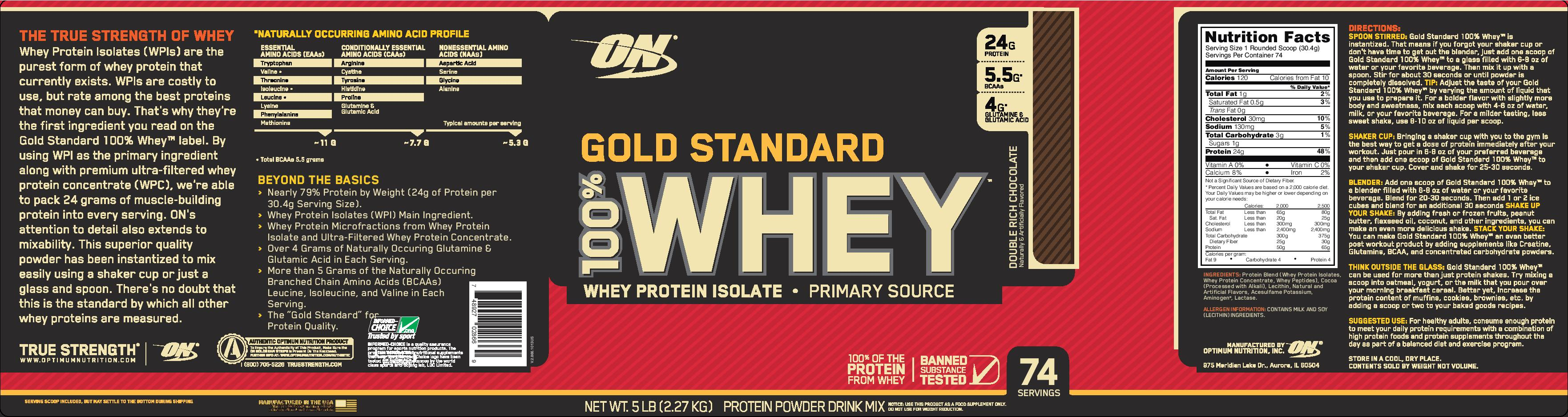318e4f24f9b3 Optimum Nutrition Gold Standard Whey 5 lbs - Double Rich Chocolate