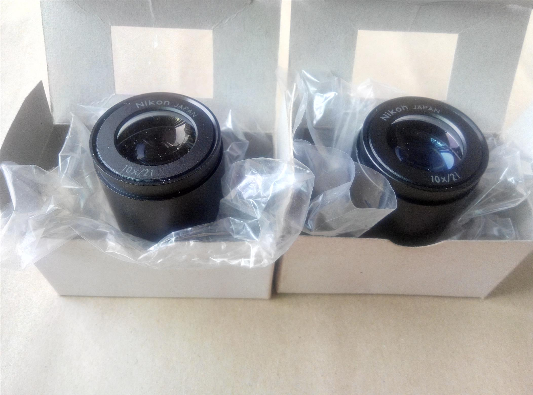 Pair Nikon 10x/21 10x Stereo Microscope Eyepiece Lens (New)