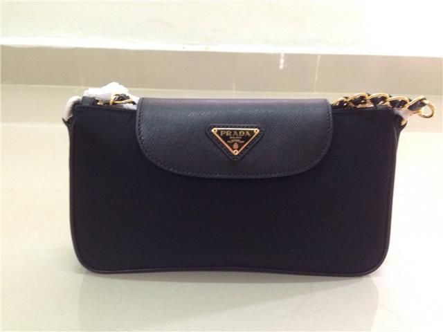 e8b289137b3b1e ... authentic prada saffiano wallet on chain prada bandoliera tessuto  handbag beg black hitam 28174 e7c84