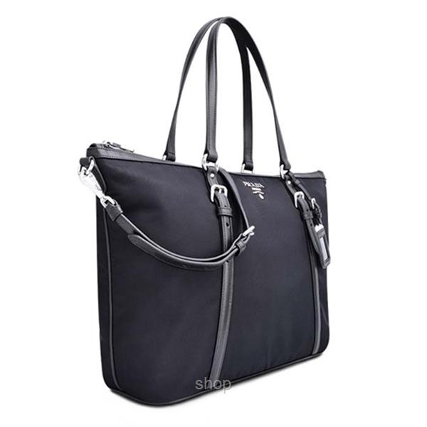 698fe132046c ... 50% off prada tessuto nylon soft calf leather trim top zip tote bag  23160 f98b7