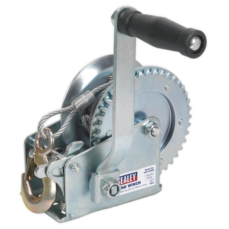 (Pre-order) Sealey Geared Hand Winch 540kg Capacity with Cable Model: