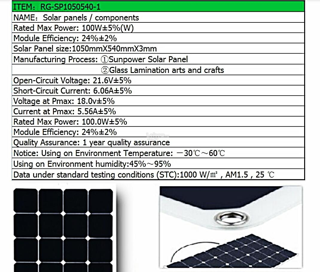 Semi - Flexible 100 Watt Monocrystalline Solar Panel