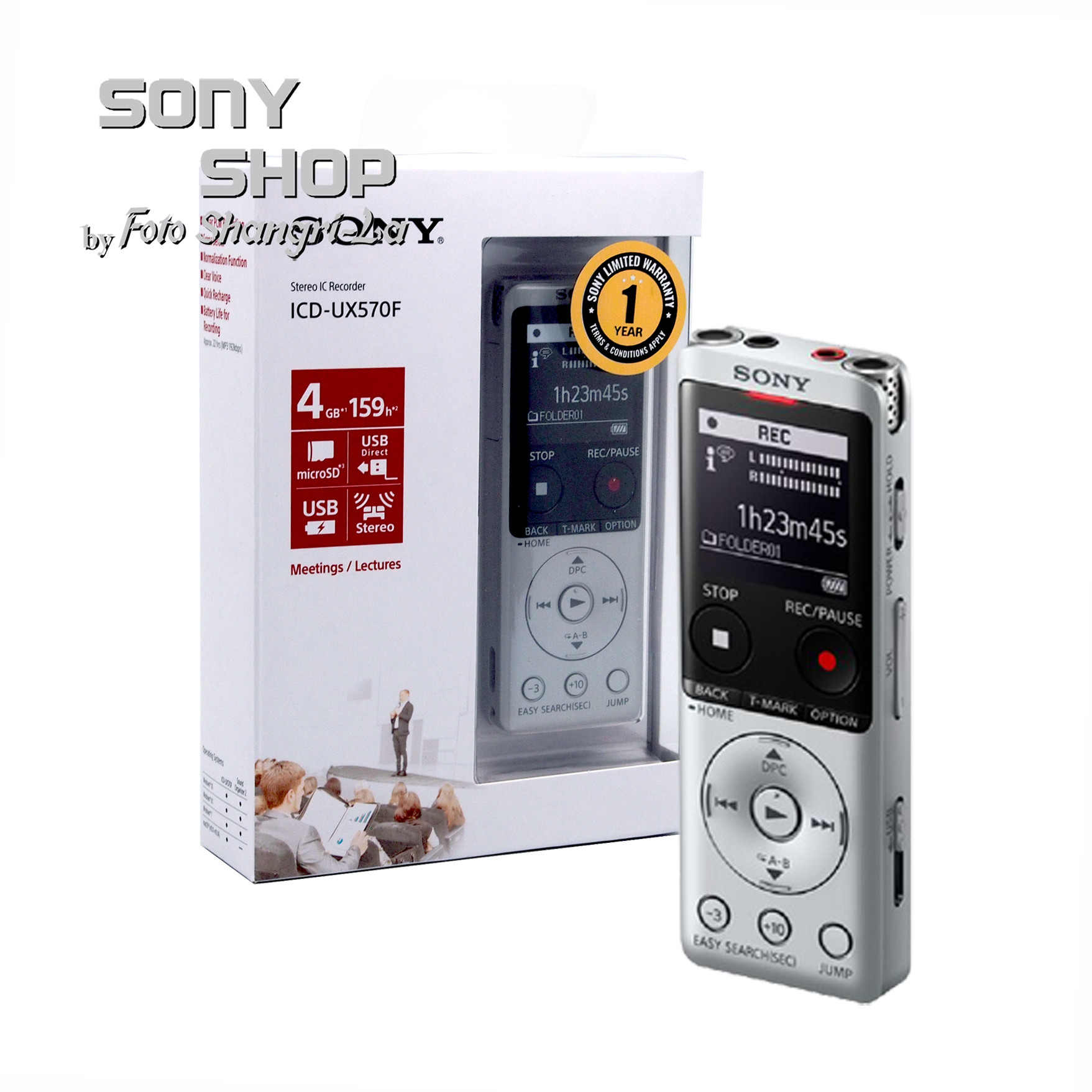Sony ICD-UX570F Stereo Digital Voice Recorder with Noise Reduce