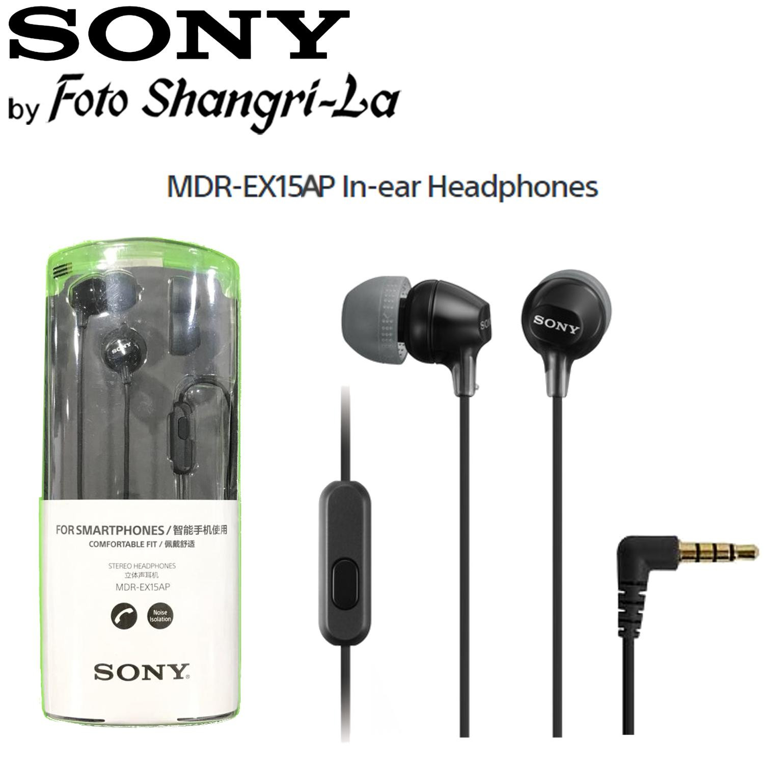 Sony MDR-EX15AP In-Ear Earphone Earbuds With Microphone - Black