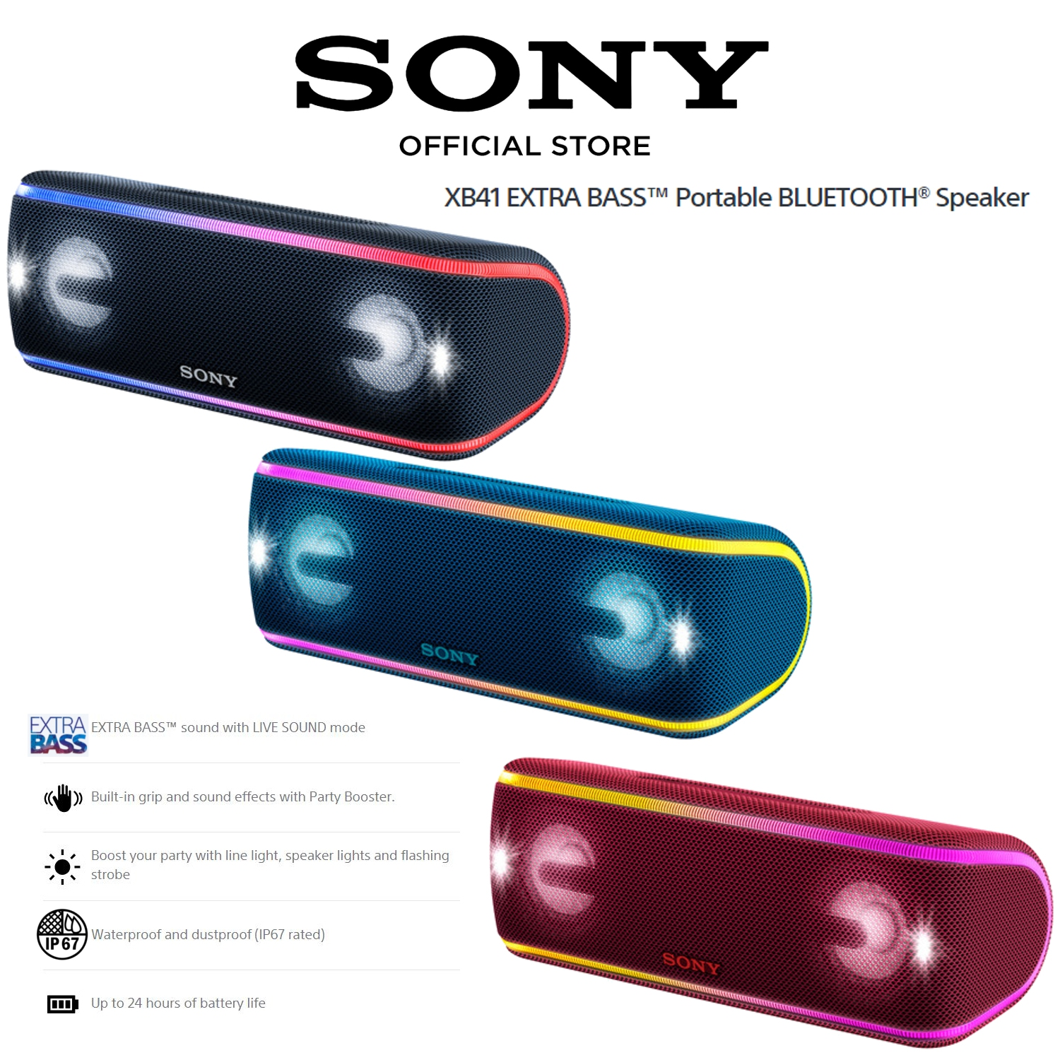 Sony SRS-XB41 Portable Wireless Bluetooth Speaker Waterproof Dustproof