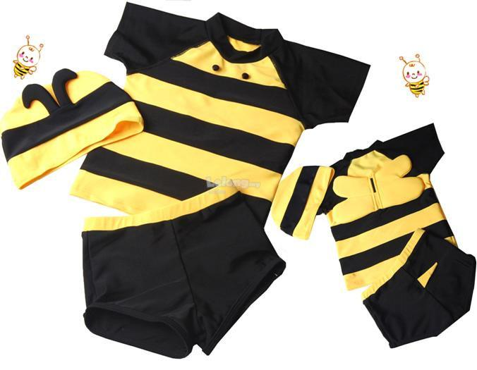 (SS08-3)Cutely Yellow Bee Swimsuit For Kids, Set In 3