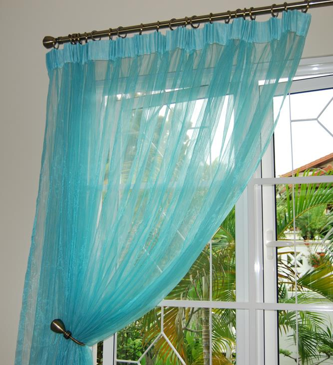 Blue lace curtains