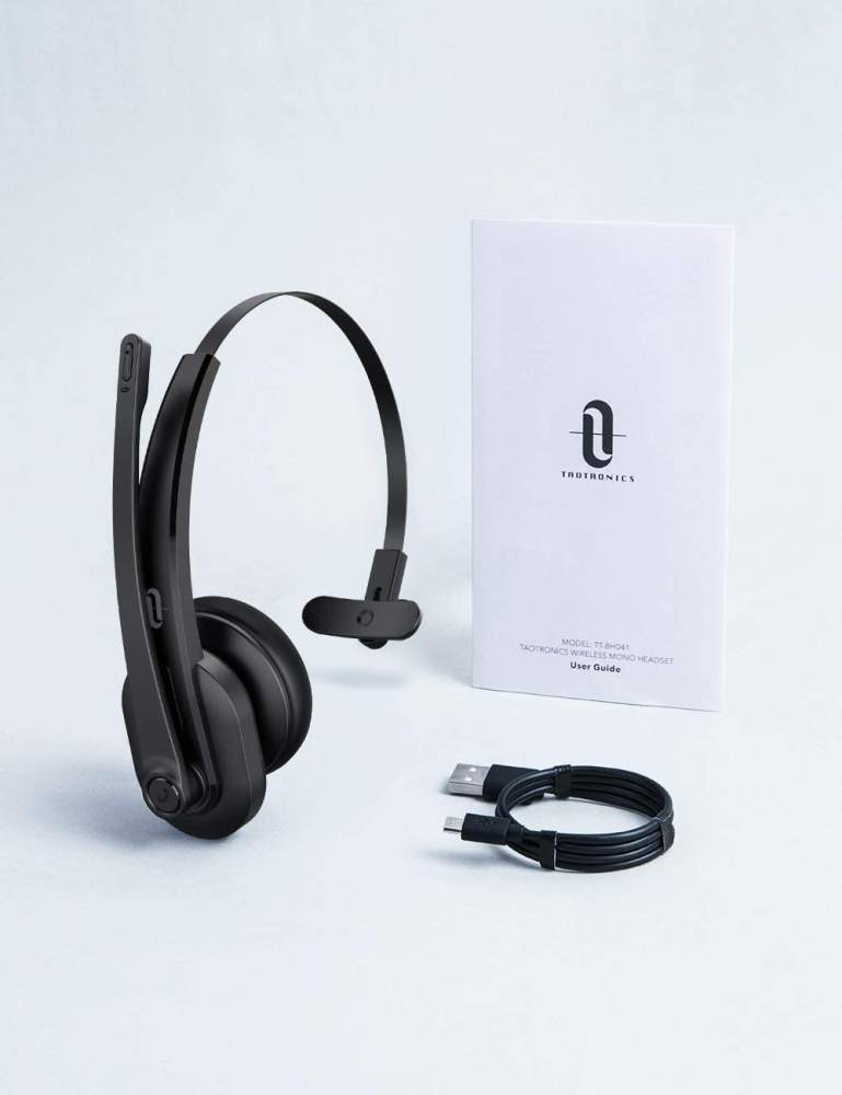 TaoTronics BH041 Pro Trucker Bluetooth Headset Mic AI Noise Cancelling