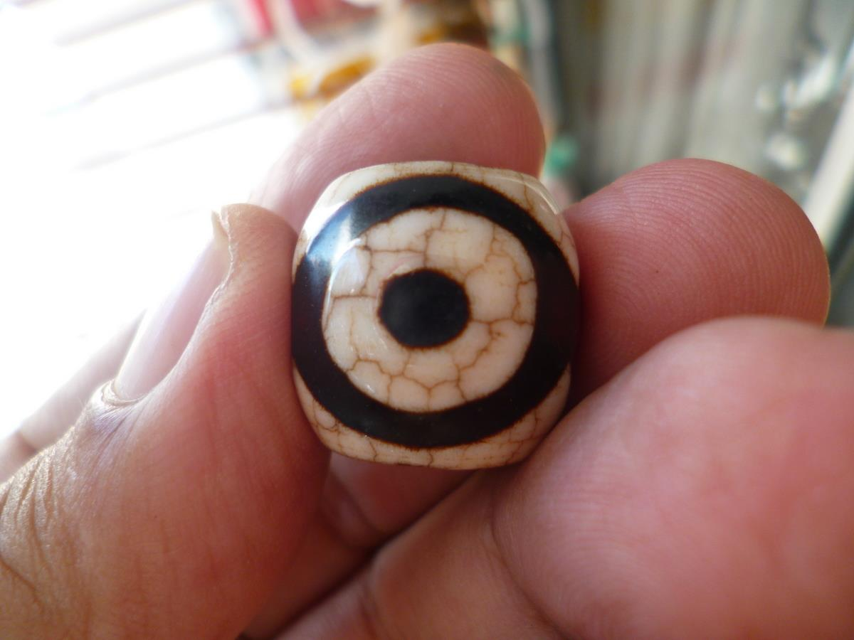 TIBETAN 3  EYE DZI  BEAD SMALL