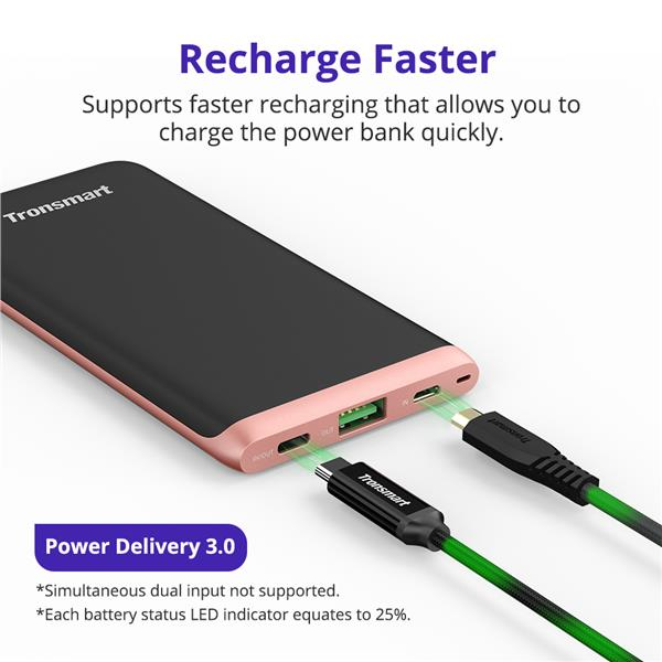Tronsmart Trim Slim Portable Charger with Power Delivery 3 0 10000mAh