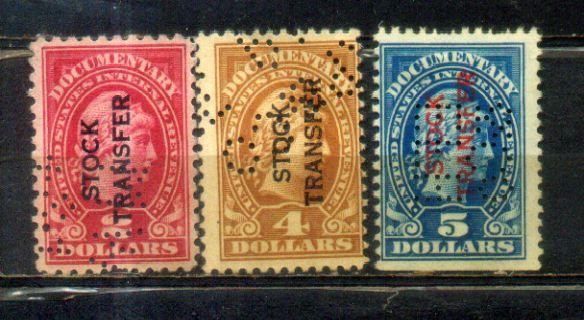 USA $2,$4, $5 Overprints-Stock-Transfer-Perfin-Old-Stamps