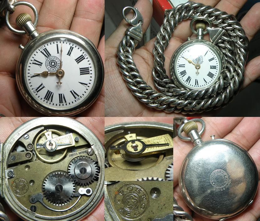 Vintage Roskopf Patent (black logo) pocket watch with silver chain