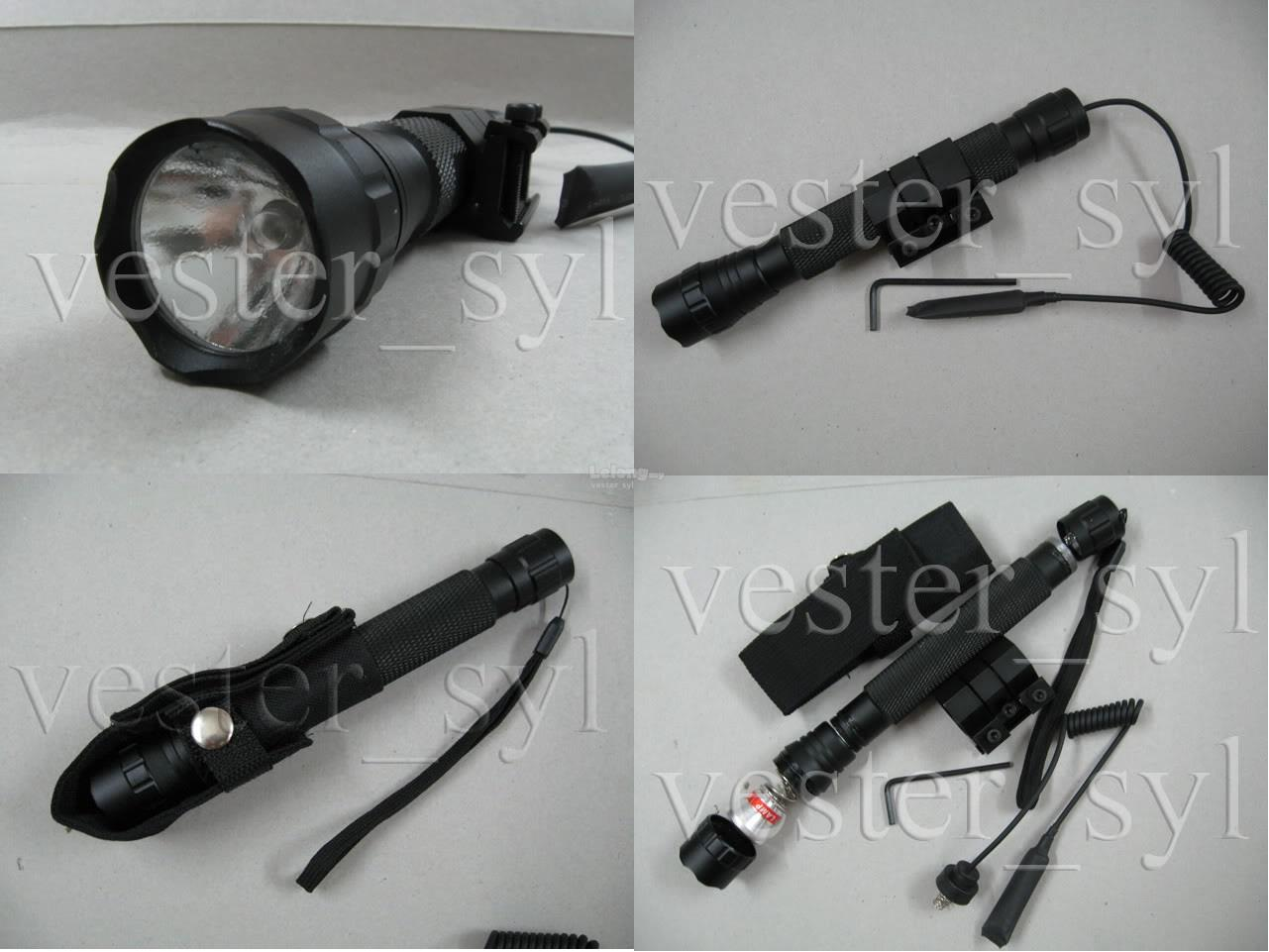 Xenon Tactical Flashlight+Gun Mount/Pressure Switch/Holster (4XCR123A)