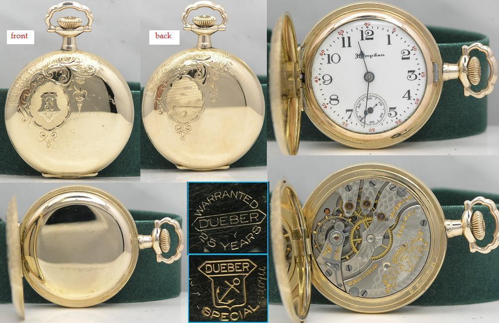 Almost new yr 1915 Hampden 14K gold filled hunter case pocket watch