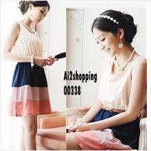 Korea sleeveless chiffon mixed colors waist ladies section Dress (with..