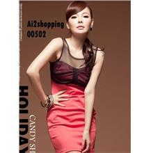 Korean cotton yarn mixed colors sexy Slim thin dress00502