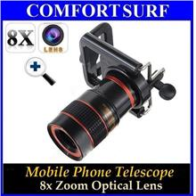 8x Zoom Optical Lens for Mobile Phone Telescope + Universal Holder