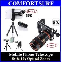 Mobile Phone Telescope + Universal Holder - 8x & 12x Zoom Optical Lens