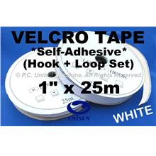 "GRADE AA VELCRO TAPE Self-Adhesive WHITE 1"" x 25m Hook & Loop Set"