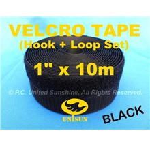 "GRADE AA VELCRO TAPE NON-Adhesive BLACK 1"" x 10m Hook & Loop Set"