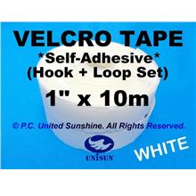 "GRADE AA VELCRO TAPE Self-Adhesive WHITE 1"" x 10m Hook & Loop Set"