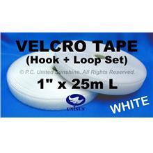 "GRADE AA VELCRO TAPE NON-Adhesive WHITE 1"" x 25m Hook & Loop Set"