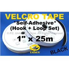 "GRADE AA VELCRO TAPE Self-Adhesive BLACK 1"" x 25m Hook & Loop Set"