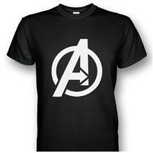 Avengers Logo White T-shirt Black Print
