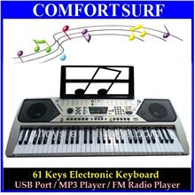Portable 61 Key Piano Electronic Keyboard wf USB Port MP3 & FM Radio