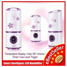 Smart LCD Ultrasonic Humidifier Fresh Air Purifier Aroma Diffuser Time