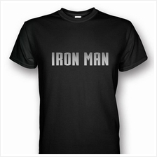 Iron Man Black T-shirt Silver Print