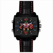 WEIDE DUAL TIME LED WH2308BK MONACO MAN LEATHER WATCH