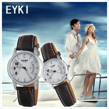 1 pair EYKI E-TIMES w8408GL UNIQUE COUPLE  leather watch