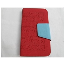 Samsung Galaxy Note 2 N7100 Leather Flip Case Cover Wallet (Red)