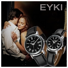 1 PAIR ORIGINAL EYKI W8522GL COUPLE SUNTIMER DAY DATE LEATHER!*