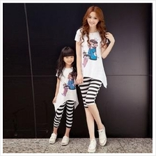 Princess Family Set, Mummy Girl T-shirt + Straped  Short Pants