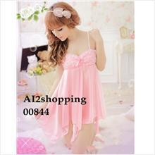 Pink Lady Rose irregular Sexy Lingerie Pajamas+G-string00844