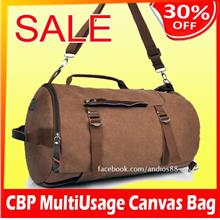 CBP-Men's Vintage Canvas Leather Hiking Travel Cylinder Messenger Tote