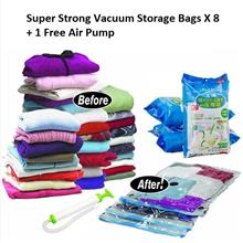 8PCS Ultra Strong Resealable Vacuum Compressed Storage Bag+ Free Pump