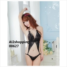 00627Mysterious black lace sexy sleepwear sexy halter leotard