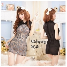 00346New role-playing mixed colors Slim sexy qipao Lingerie+G-string