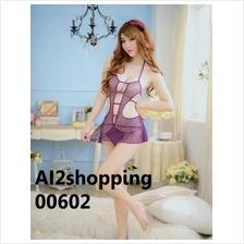 00602New sexy halter Purple Heart Lingerie + G-string